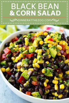 This black bean and corn salad is a fresh mix of black beans, corn, red peppers, jalapeno and avocado, all tossed in a zesty cilantro lime dressing. An easy salad that's the perfect side dish for any meal! bean avocado salad BLACK BEAN AND CORN SALAD Corn Salad Recipes, Corn Salads, Easy Salads, Mixed Bean Salad Recipes, Recipes With Corn, Corn Salad Recipe Easy, Bean Dip Recipes, Vegetable Salad Recipes, Salads For A Crowd