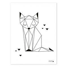 Kinderzimmer-Poster 'Origami-Fuchs' schwarz/weiß 30x40cm