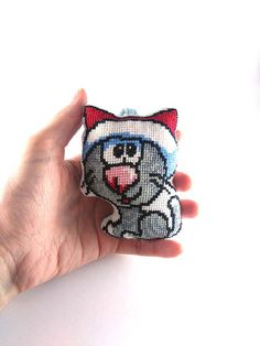 Embroidery cat, cross stitch cat, tree ornament, stroller toy, cat gift, small colorful decor, universal gift, hand embroidery cat, padded cat, christmas toy, christmas tree decor, christmas decoration, xmas ornament