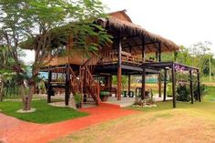 Bahay Kubo Kahit Munti: 10 Most Stunning Nipa Huts In The Philippines - The Clever Filipina Bamboo House Design, Wooden House Design, Tropical House Design, Tropical Houses, Thai House, House 2, Bahay Kubo Design Philippines, Filipino House, Philippine Houses
