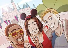Friends Bucky, Steve, and Sam hanging out at Disney world<<<This just reminds me of how much I need my babies to be happy and not worry about Tony destroying the world or something like that.
