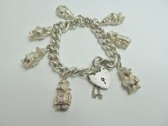 Wombles Silver Charm Bracelet Hallmarked Birmingham 1975 All 7 Charms Silver Charm Bracelet, Silver Charms, Love Charms, Coin Jewelry, Sterling Jewelry, Vintage Jewelry, Unique Jewelry, Vintage Costumes, Birmingham