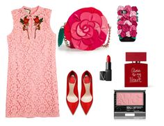 """Untitled #43"" by algena on Polyvore featuring Gucci, Kate Spade, NARS Cosmetics, Bella Freud, colorchallenge and redandpink"