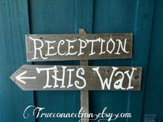 Reception THIS WAY Wedding Signs Alice in Wonderland Font Recycled Wood Rustic Directional Arrow Signs Fun Outdoor Decorations on Etsy, $60.00