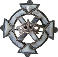 Victorian Scottish Agate Silver St. Andrew's Cross and Crown Brooch
