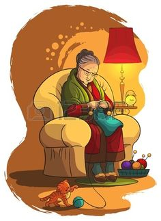 Illustration of Grandmother sitting in armchair and knitting vector art, clipart and stock vectors. Cartoon Grandma, Knitting Humor, Knit Art, Family Illustration, Learning Time, Picture Captions, Knitted Shawls, Logo Branding, Vector Art