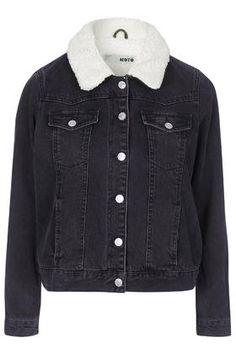 PETITE Borg Denim Jacket - Jackets - Clothing - Topshop