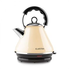Cordless Electric Tea Kettle By Klarstein Cream Coloured Water Boiler Stainless Steel Properties, Stainless Steel Kettle, Filter, Retro, Water Boiler, Cozy Aesthetic, Cord Storage, Water Tank