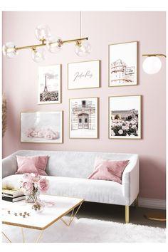 Pink Bedroom Walls, Pink Room, Room Ideas Bedroom, Pink Bedroom Decor, Bedroom Wall Decorations, Art For Bedroom, Pink Paris Bedroom, Paris Inspired Bedroom, Rich Girl Bedroom