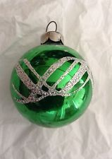 Vintage 1950'S BRIGHT GREEN With White Design Glass Christmas Ornament