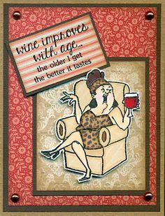 Art Impressions Rubber Stamps: Ai Girlfriends: Wine Diva sku# SC0677 Hampton Art clear stamp set. Handmade card.