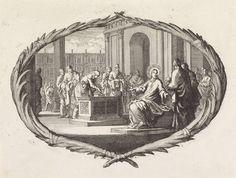 Jan Luyken | Vrijgevigheid van de arme weduwe, Jan Luyken, Pieter Mortier, 1700 | Een voorstelling in een cartouche van palmtakken. Christus wijst zijn leerlingen op een arme weduwe die wat geld in de offerkist werpt. Deze weduwe heeft meer gegeven dan de grote giften van de rijken omdat zij dat geld niet kan missen. Onder de cartouche de Bijbelreferentie Luc. 21:2
