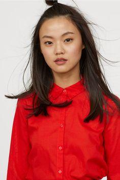 Bomullsskjorta - Klarröd - DAM   H&M SE 3
