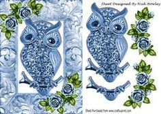 Blue Sparkle Owl With Roses In Ornate Frame