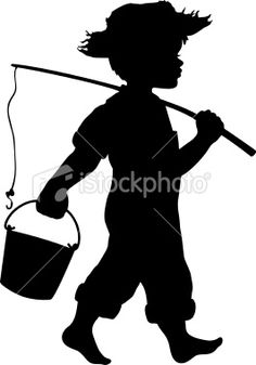 Little boy going fishing Royalty Free Stock Vector Art Illustration