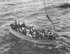 One of the lifeboats seen approaching the Carpathia, near full in capacity.