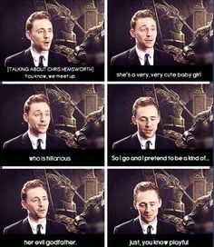 Tom Hiddleston talking about Chris Hemsworth's daughter India. Evil godfather indeed.