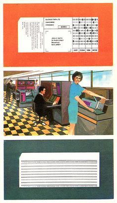 """""""For retrieval by computer, information may be punched on a special card (top). A blank card is shown (bottom)."""" You could train at Vocational School to be a """"key punch operator. Computer Class, Computer Science, Retro Office, Old Computers, Retro Futurism, My Memory, The Good Old Days, Back In The Day, Childhood Memories"""