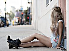 floral and combat boots