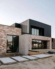 Building A Deck 543528248778459448 - ok now close your eyes, imagine greenery, grass, finished decking, timber blades in that opening on the second level and not one bit of… Source by jonatthanb Modern Brick House, Modern House Facades, Modern House Plans, Modern House Design, Contemporary Design, House Cladding, Facade House, Brick Cladding, Exterior Cladding