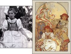 "Alphonse Mucha - ""The Regional Fair at Ivančice"" Poster 1912    Pictured alongside Mucha's black & white photograph of his model sitting for the painting."