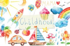 $6. watercolor happy childhood set by LeraXendzova on @creativemarket