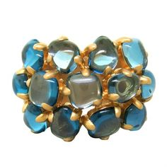 Pomellato Nausicaa 18k Gold Blue Topaz Ring @ oakgem.com