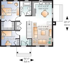 Bungalow House Plan 76181 Level One 896 Sq ft. 2 bed. 2 columns on the porch ***+