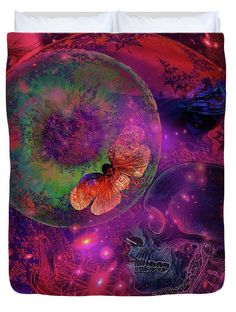 Solar Duvet Cover featuring the digital art Solar Vision Universe by Joseph Mosley