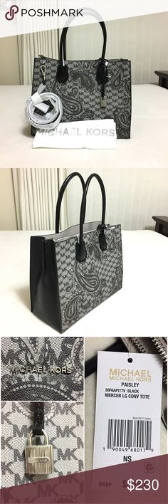 """Michael Kors Paisley Mercer Lg Conv Tote ❗️NWT❗️ This is a very stylish, sturdy and beautiful tote by Michael Kors. - Coated canvas - Brushed nickel-tone hardware - Interior: center zip divider with 1 zip pocket and 1 slip pocket - Double handles with 8.5"""" drop - Removable shoulder strap with 23"""" drop  Color: black Size: 12.5"""" x 8.5"""" x 5.5"""" Original Price: $348 MICHAEL Michael Kors Bags Totes"""