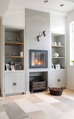 Small fireplace in kitchen. But not that glass face Small Fireplace, Front Rooms, Home Upgrades, Home Living Room, Built Ins, Sweet Home, New Homes, House Design, Interior Design