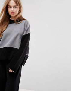 ASOS Sweater with Knit and Fabric Mix - Multi