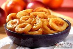Receita de Anéis de cebola diferente em receitas de salgados, veja essa e outras receitas aqui!