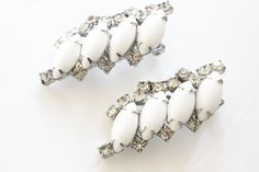 Vintage navette shaped faux white glass earring iridescent rhinestone long clip on earrings vtg accessories clasp earrings white earrings