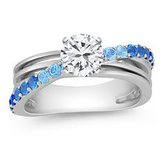 Atty's Engagement Ring    Round Multi-Color Sapphire Ring  with Brilliant Round Diamond  By Shane Co.
