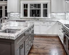 Supreme Kitchen Remodeling Choosing Your New Kitchen Countertops Ideas. Mind Blowing Kitchen Remodeling Choosing Your New Kitchen Countertops Ideas. White Granite Countertops, Kitchen Cabinets Makeover, Kitchen Design, Kitchen Cabinet Design, Kitchen Colors, Kitchen Marble, White Kitchen Cabinets, Granite Kitchen, Kitchen Color