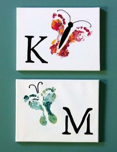Diy canvas. Mariposas con sus pies