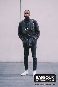 'We spotted David in London wearing an original style Barbour International waxed jacket. think the vintage looks great paired with sharp white trainers and denim. Smart Jackets, Wax Jackets, Barbour International Jacket, Barbour Wax Jacket, Daytime Outfit, Mature Fashion, Country Fashion, Cold Weather Outfits, 3 Piece Suits