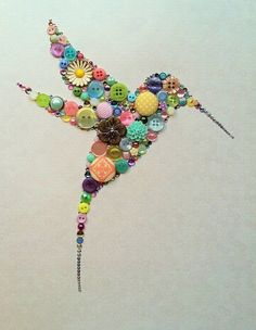 "Custom Made 8""X10"" Button Hummingbird Button Art & Swarovski Crystal Art"