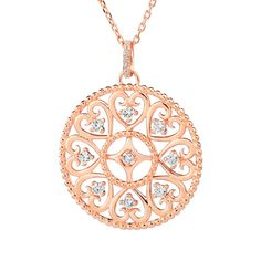 ARGENTO ROSE GOLD ARABESQUE DISC NECKLACE