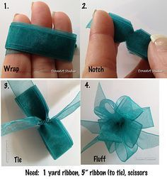 Don't just make them for cards...how about the center of flowers, or a 3D turkey tail feather or bunny butt....so many possibilities. Use less ribbon for thicker ribbons or smaller bows. Make the size smaller by wrapping the ribbon around 2 fingers or make it huge by wrapping 4. Play around with it...easy and fun!