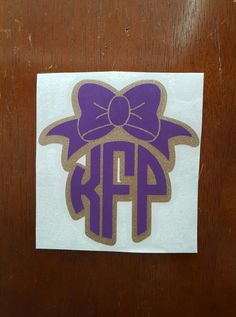 Bow and glitter monogram decal