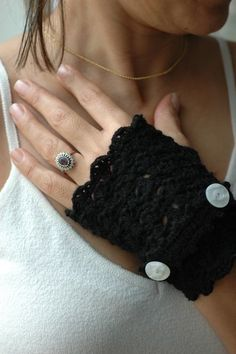 SALE  Black Lace Fingerless Gloves white buttons on Gift by anils, $22.00