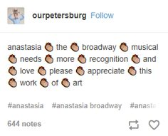 I was able to see it on Broadway and more people should be freaking out about it tbh Anastasia Broadway, Anastasia Musical, Musical Theatre Broadway, Broadway Shows, Theatre Nerds, Theater, Christy Altomare, Journey To The Past, Dear Evan Hansen