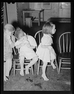 Children eating grapefruit after taking cod liver