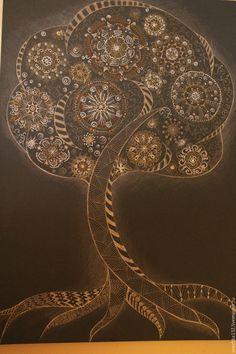 """Купить Картина """"Дерево Гармонии"""" - серебряный, золотой цвет, интерьер, мандала, графика, зентангл, подарок"""