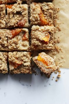 Apricot-bars-_(with fresh apricots)-HonestlyYUM-- Baking Recipes, Cookie Recipes, Dessert Recipes, Bar Recipes, Vegan Recipes, Just Desserts, Delicious Desserts, Crackers, Apricot Bars