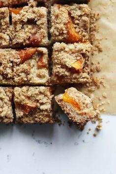 Apricot-bars-_(with fresh apricots)-HonestlyYUM-- Baking Recipes, Cookie Recipes, Dessert Recipes, Bar Recipes, Brunch Recipes, Just Desserts, Delicious Desserts, Apricot Bars, Yummy Treats