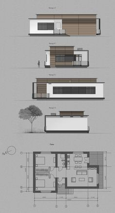 Architecture Concept Drawings, Architecture Sketchbook, Architecture Plan, Architecture Details, Small House Design, Modern House Design, House Construction Plan, Architectural Floor Plans, Home Building Design