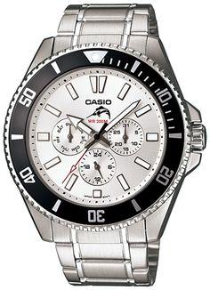 Casio Men's MDV303D-7AV Silver Stainless-Steel Quartz Watch with Silver Dial